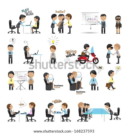 Business Peoples - Isolated On White Background - Vector Illustration, Graphic Design Editable For Your Design. Team Working In Office. People Traveling For Business  - stock vector