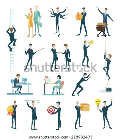 Business peoples, set of icons flat design - stock vector