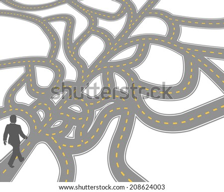 Business person finds complicated choices and confusing decisions to go forward - stock vector