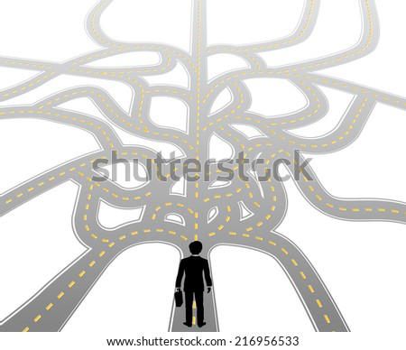 Business person standing at complicated choices and confusing decision path - stock vector