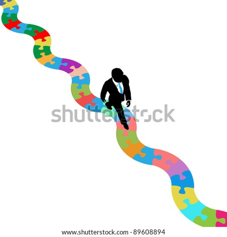 Business person walks on winding path to find a solution to a puzzle problem - stock vector