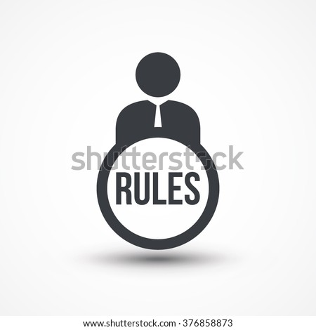 Business person with text rules flat icon - stock vector