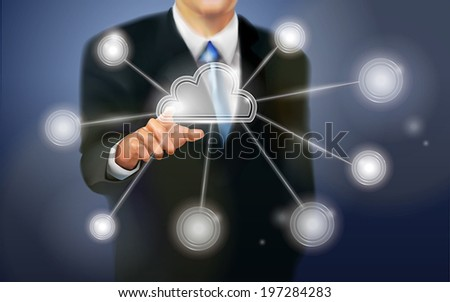 business person working with modern virtual technology - stock vector