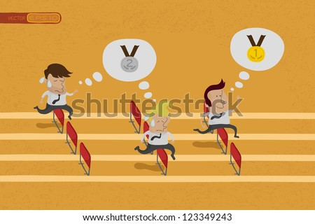 Business persons reaching the goal in a race , eps10 vector format - stock vector