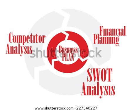 Business plan circle red and gray color chart - stock vector