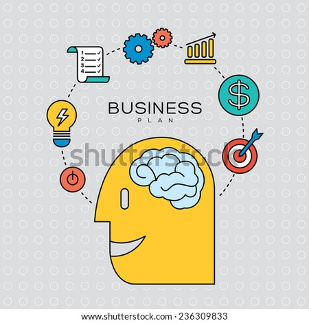 business plan concept outline icons illustration - stock vector