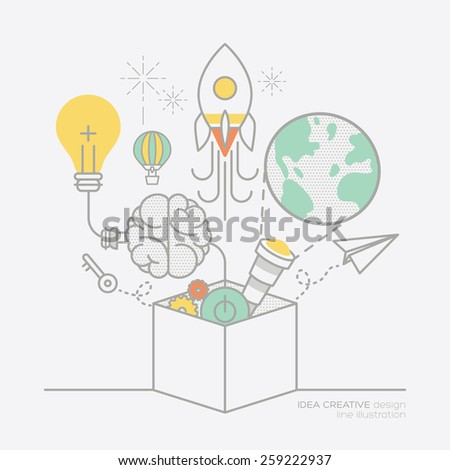 business plan idea concept outline icons vector illustration - stock vector