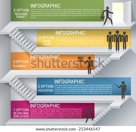 Business plan with staircase. Thinking idea, EPS 10. Can be used for businees plan, strategy, layout banner diagram, etc - stock vector