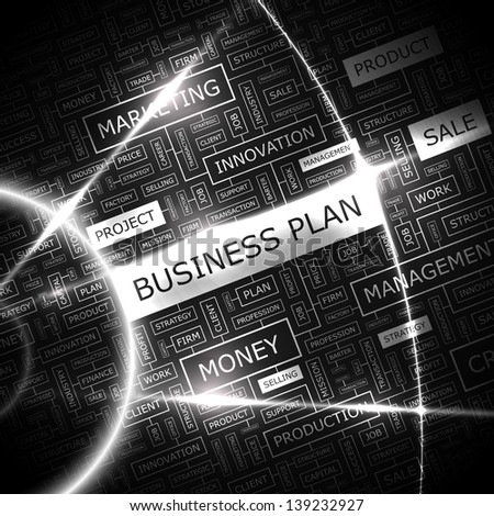 BUSINESS PLAN. Word cloud concept illustration. - stock vector