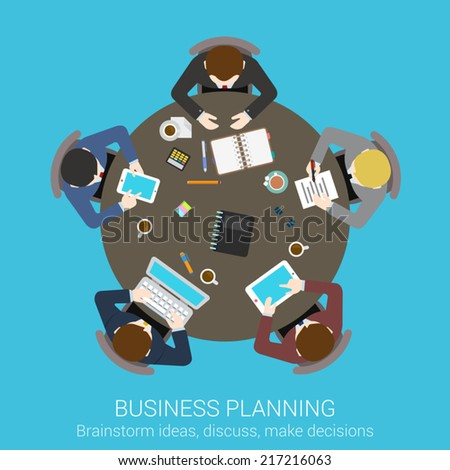 Business planning brainstorming top view concept flat icon of round office conference meeting room table businessmen presentation vector web illustration website click infographics elements collection - stock vector