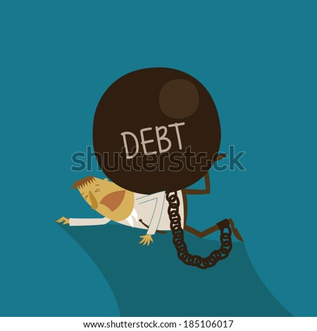 Business plumped by DEBT  - stock vector