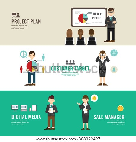 Business position design concept people set presentation, planning, meeting, success, sale, manager, partnership. with flat icons. vector illustration - stock vector
