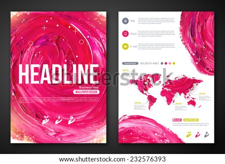 Business Poster or Flyer Template with paint abstract pink background. Vector illustration. Typographic template for your text. Woman beauty, health & spa, fashion theme. - stock vector