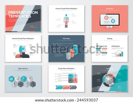 Business presentation brochures and infographic vector elements. Use for workflow layout, diagram, number options, step up options, web template, infographics, websites, brochures, flyers and prints. - stock vector