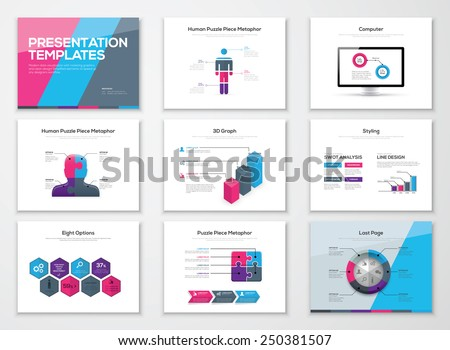 Business presentation brochures and infographics vector elements. Use for workflow layout, diagram, number options, step up options, web template, infographics, websites, brochures, flyers and prints. - stock vector