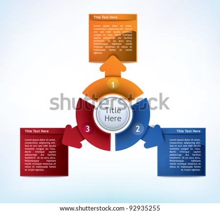 Business Presentation Diagram with three different colored fields for text and statistics - stock vector
