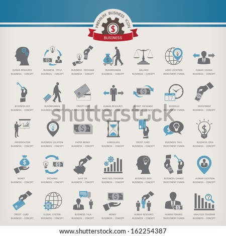 Business Presentation Icon set - stock vector