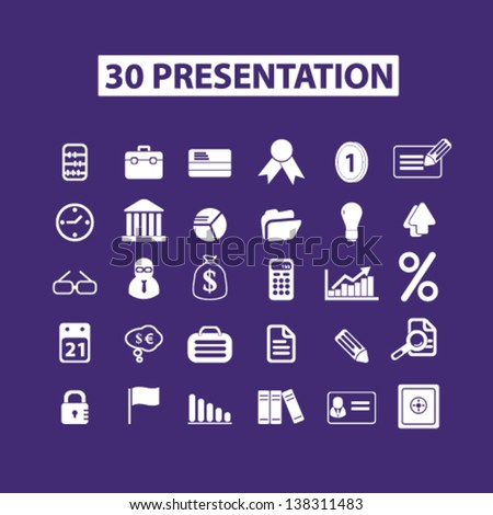 business, presentation, marketing, management, infographics isolated icons, signs set, vector - stock vector