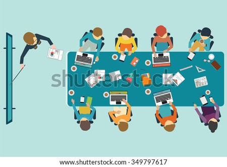 Business presentation, office, teamwork, brainstorming in flat style, conceptual vector illustration. - stock vector