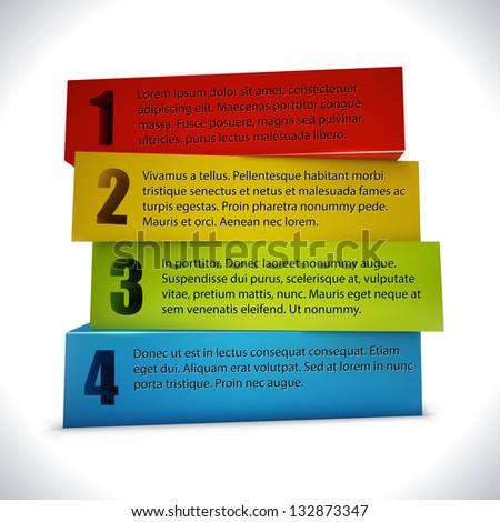 Business presentation or website 3D blocks option template. - stock vector