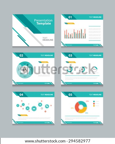 business presentation template set.powerpoint template design backgrounds  - stock vector
