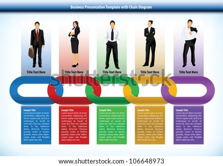 Business presentation template with interlinked colorful chain with each link representing a different persons or human input with corresponding text boxes below - stock vector