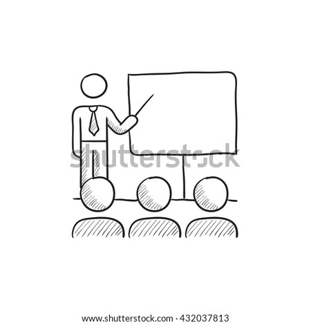 Business presentation vector sketch icon isolated on background. Hand drawn Business presentation icon. Business presentation sketch icon for infographic, website or app. - stock vector