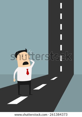 Business problem solving concept with a horrified cartoon businessman standing looking at a road as it make a perpendicular right angle bend wondering how he can solve the problem to reach the top - stock vector