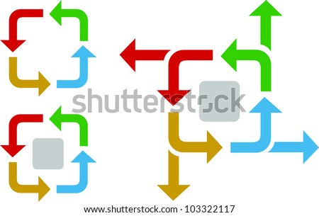 Business process flow diagram with arrows in an iterative process - stock vector
