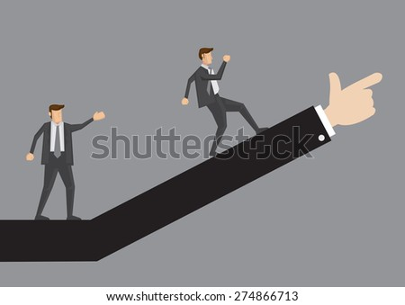 Business professional walking up in the direction as advised. Creative vector illustration for business concept isolated on plain grey background. - stock vector