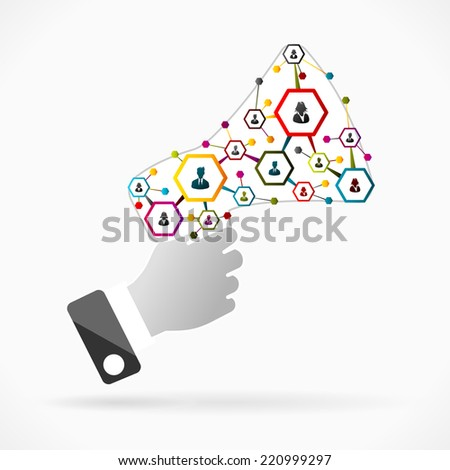 Business promotion concept illustration with network inside bullhorn - stock vector