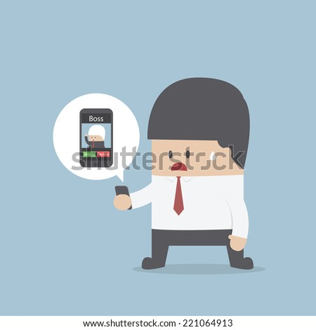 Business recieve incoming call from boss, VECTOR, EPS10 - stock vector