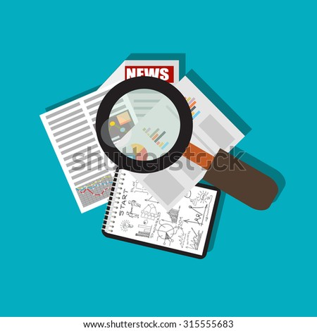 Business report with magnifying glass. flat illustration.  - stock vector