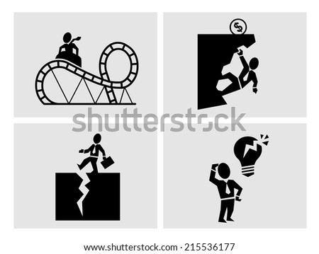 Business risk icons - stock vector