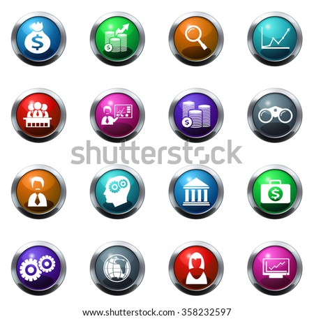 Business round glossy web icon set - stock vector