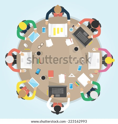 Business round table. Flat design vector illustration. Meeting, office, teamwork, brianstorming concept. - stock vector