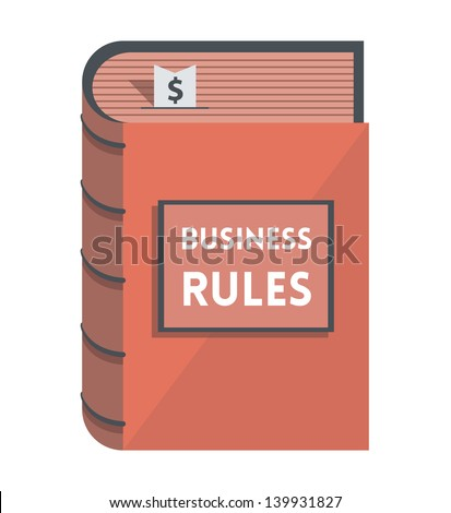 Business Rules book with bookmark with dollar symbol isolated on white. - stock vector