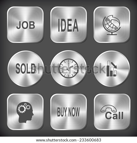 Business set. Vector round and square steel buttons. - stock vector