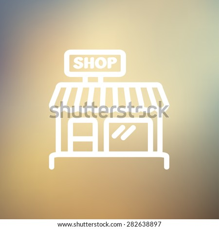 Business shop icon thin line for web and mobile, modern minimalistic flat design. Vector white icon on gradient mesh background. - stock vector