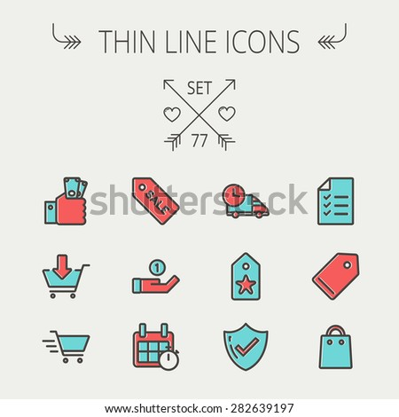 Business shopping thin line icon set for web and mobile. Set includes -  sale tag, calendar with stopwatch, cash on hand, fast delivery, checklist, empty tag, shopping bag icons. Modern minimalistic - stock vector