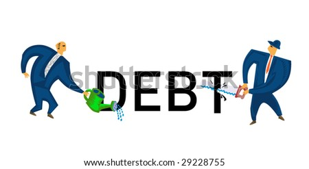 business sign #12 - debt - stock vector