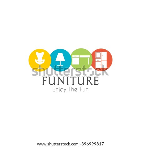 Business sign vector template for furniture store, home decor boutique, furniture design template. vector illustration - stock vector