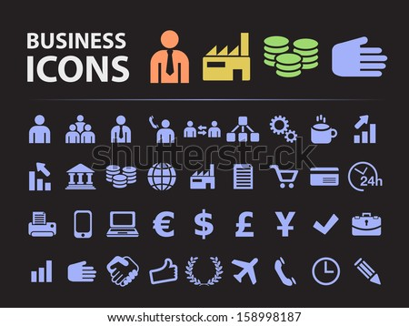 Business Silhouette Icons. - stock vector