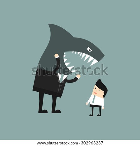 Business situation. Angry boss shouting at the employee. Vector illustration. - stock vector