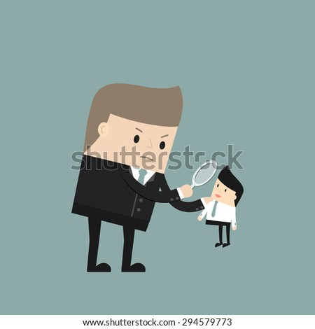 Business situation. Angry boss treats employees through a magnifying glass. Vector illustration. - stock vector