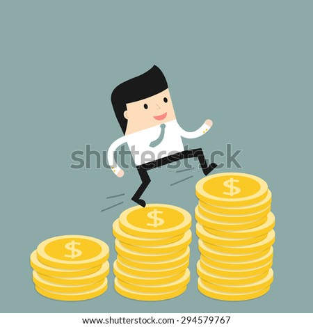 Business situation. Businessman climbs the stairs of money. Symbol of revenue growth. Vector illustration. - stock vector