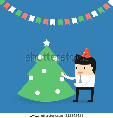 Business situation. Businessman decorates a Christmas tree. Vector 