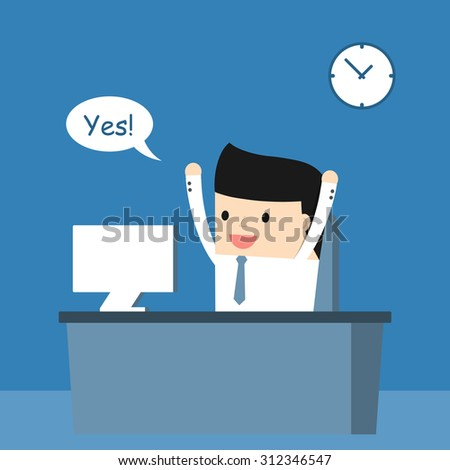 Business situation. Businessman enjoys success. Vector illustration. - stock vector