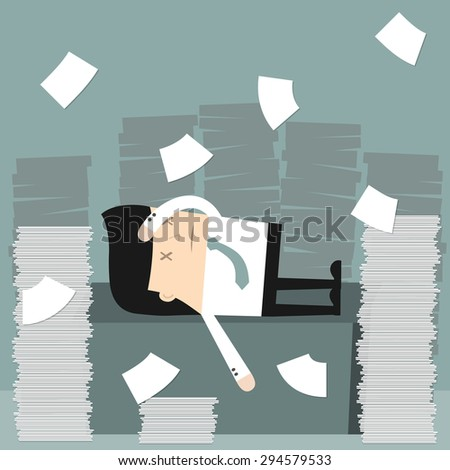 Business situation. Businessman in the office Businessman in office littered with a bunch of papers. Vector illustration. - stock vector