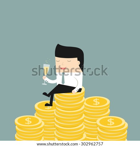 Business situation.Businessman sitting on the money, and drinking champagne. Symbol of wealth and big profits. Vector illustration. - stock vector